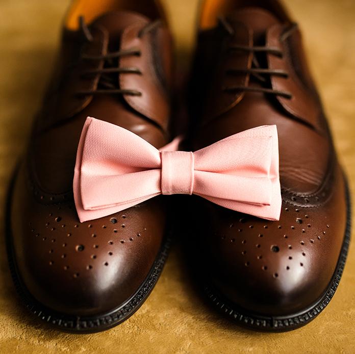 Καφέ δερμάτινα παπούτσια με παπιγιόν